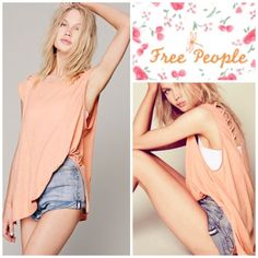 Free People We The Free Top Free People Orange We The Free Top Loose-fitting linen blend jersey top. Sleeveless featuring cool cutouts over the shoulders with crisscross accents. We the free brings us back to our down-to-earth all-american roots made mostly with casual cottons that have a lightly distressed and perfectly worn in feel. Color: Papaya.  Cover shot truest color. Free People Tops