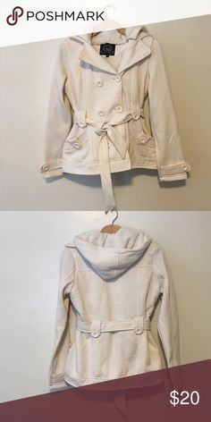 Cotton Cream Colored Coat w/ Fur Hood Never been worn, cute off white coat with fuzzy lined hood. Really cute and cozy! YMI Jackets & Coats Pea Coats