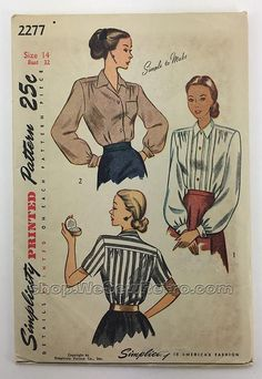 Simplicity 2277 1940s Blouse Sewing Pattern