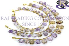 Ametrine Faceted Carved Leaf (Quality A) Shape: Leaf Carved Length: 18 cm Weight Approx: 10 to 12 Grms. Size Approx: 8x10 to 9x14 mm Price $26.40 Each Strand