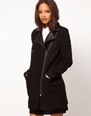 ASOS Wool Biker Coat With Leather Collar
