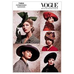 Vintage Hats-All Sizes in One Envelope Pattern, , hi-res