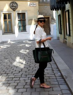 #newoutfit #fashion #outfitinspiration #celine   www.theczechchicks.com Celine Luggage, Luggage Bags, Neue Outfits, Panama Hat, Spring, Summer, Instagram, Tops, Fashion