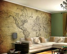 World Map - Vintage - Wall Mural - world map wall art - Adhesive Fabric - Self-Adhesive Wall Covering - decal - Peel And Stick - SKU:VinWM