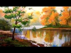 Easy landscape painting tutorial - Autumn forest with river. Step by step acrylics or oil painting - YouTube