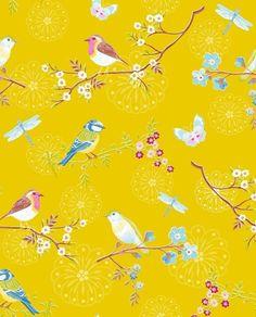 Pip Studio Wallpaper Early Bird Yellow 375083