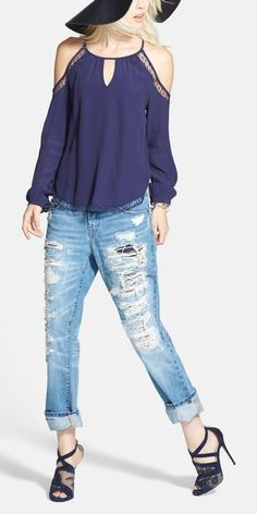 Love this look. Distressed boyfriend jeans are a spring wardrobe staple.