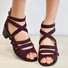 Multi-Strap Heeled Sandals Peep Toe Woman Shoes Comfortable Strappy PU Leather Cute Zip High Heels Thick Rivet Solid Gladiator Plus Size Ankle Strap Heels, Peep Toe Heels, Ankle Straps, Ankle Boots, Spring Sandals, Blue Sandals, Heeled Sandals, Fall Shoes, Spring Shoes