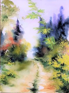 Peaceful nature, the blending of the brush strokes, the calm feel, and the way the painting comes together provides great harmony. Watercolor Paintings For Beginners, Watercolor Landscape Paintings, Watercolor Trees, Easy Watercolor, Abstract Watercolor, Abstract Landscape, Watercolour Painting, Painting Prints, Watercolors