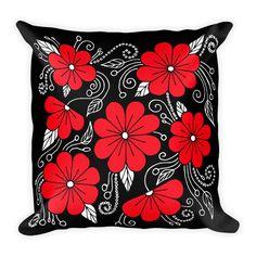 Decorative Pillow - Pillow - Pillow Cover - Throw Pillow - Accent Pillow - Red and Black Floral Pillow