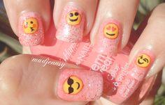 #Pink Glittery Emoji Nail Art  Watch HD Nail #Tutorial! http://youtu.be/v_LEbFzLK1I  Mirá el #Video Tutorial en Español! https://www.youtube.com/watch?v=WoOYnRbL8cc&feature=youtu.be