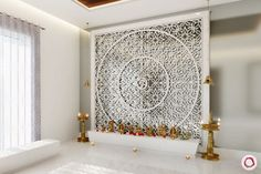 Want your mandir to look unique? Whether you're looking for a traditional or a modern mandir design, we have 13 unique designs to pick from. Meditation Raumdekor, Meditation Room Decor, Temple Design For Home, Mandir Design, Pooja Room Door Design, Puja Room, Lattice Design, Indian Homes, Prayer Room