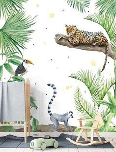 Baby Room Wallpaper Boy 34 Ideas For 2019 Jungle Bedroom, Jungle Nursery, Jungle Baby Room, Tier Wallpaper, Animal Wallpaper, Wallpaper Jungle, Print Wallpaper, Playroom Decor, Nursery Decor