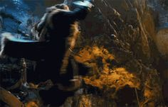 Thorin (gif) click through to see the swirling fur coat of destruction! (and watch that goblin head fly!)