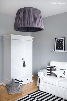white grey scandic living room / tine k home lamp / closet, wardrobe, armoire / star pillows impressionen