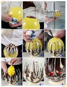 How to make a chocolate bowl, Love Choccywoccydoodah? If you want to learn how to make chocolate creations, this simple chocolate bowl is a great place to start. Christmas ● DIY ● Tutorial ● Fancy Chocolate Bowl pinned by Western Sage and KB Ho Yummy Treats, Delicious Desserts, Sweet Treats, Dessert Recipes, Dessert Bowls, Fruit Bowls, Fruit Salad, Gourmet Desserts, Strawberry Bowls