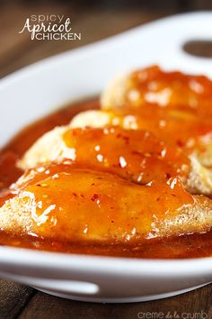 Savory breaded chicken baked in a sweet and spicy apricot sauce! 10 minute prep and SO delicious!