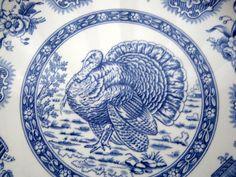 Spode Blue and White Transferware Festival Plate Turkey Toile Dinner Accent Plate. $18.00, via Etsy.