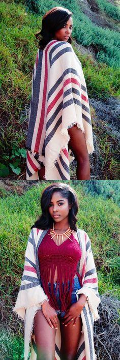 Shirts Tops 50990: Lot Of 5 Women S Bohemian Boho Striped Shawl Drape Wrap Kimono Sweater Duster -> BUY IT NOW ONLY: $100 on eBay!