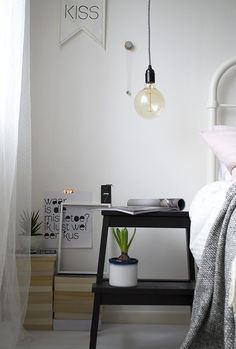 If we get rid of our bedside tables to save room, we could paint and use the ikea stools?