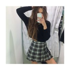 black and white aesthetic tumblr room - Google Search   outfits <3... ❤ liked on Polyvore featuring skirts, mini skirts, short skirts, white and black skirt, short mini skirts, pleated skirt and black and white mini skirt