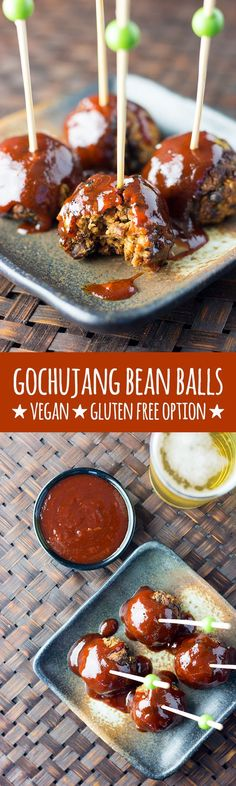 Gochujang is the star of the show in this full on, flavour packed, Korean style take on vegan meat balls made with black beans, oats, walnuts and chia seeds. These bean balls are perfect for parties and social gatherings. Gluten free option available. Vegan Foods, Vegan Snacks, Vegan Dinners, Delicious Vegan Recipes, Vegetarian Recipes, Korean Recipes, Vegetarian Protein, Korean Food, Whole Food Recipes