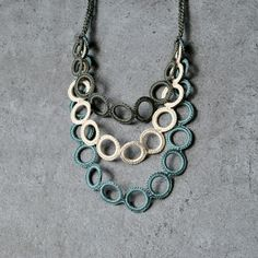AliquidTextileJewels has condiviso a new foto su Etsy - Cotton crocheted circles. Pastels color for autumn. Textile something Necklace. Best Picture For j - Diy Jewelry Necklace, Art Necklaces, Lace Necklace, Diy Earrings, Jewelery, Crochet Necklace, Collar Necklace, Fabric Jewelry, Art Deco Jewelry
