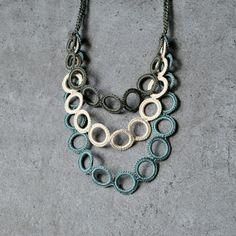 Cotton crocheted circles. Pastels color for autumn. Aliquid Textile Necklace.