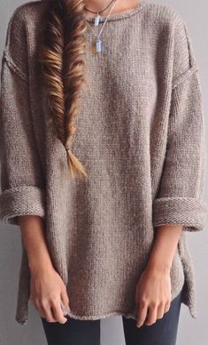 Buy Apricot Plain side slit Round Neck Fashion Acrylic Pullover Sweater online with cheap prices and discover fashion Sweaters,Pullovers,Sweaters Fall Winter Outfits, Autumn Winter Fashion, Winter Style, Comfy Fall Outfits, Boho Mode, Looks Style, My Style, Curvy Style, Simple Style