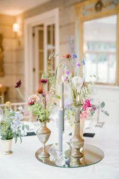 simple wildflower wedding centrepieces Floral Wedding Decorations, Floral Centerpieces, Wedding Centerpieces, Wedding Table, Our Wedding, Wedding Flowers, Centrepieces, Fly To Thailand, Best Man Duties