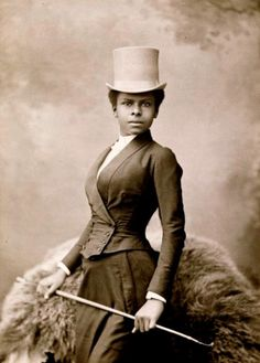 1891 studio portrait of the trailblazing black equestrian rider Selika Lazevski by photographer Félix Nadar, who had some witty and wise things to say about gender stereotypes.