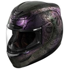 Icon Airmada Chantilly Opal Womens Motorcycle Helmets - PartsNetWeb New (not in catalog) Feb 2018 - Motorrad Icon Helmets, Dot Motorcycle Helmets, Motorcycle Style, Motorcycle Design, Women Motorcycle, Purple Motorcycle, Retro Motorcycle, Motorcycle Quotes, Custom Baggers