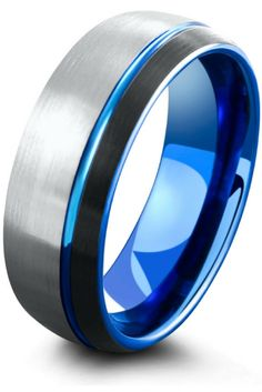 Mens 8mm brushed tungsten wedding ring. I love the three tone colors.. Blue,black, and silver. My future husband would love this wedding ring!