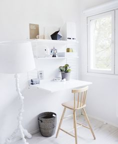 nice use of space - clean and simple desk area