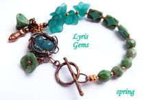 Bird Nest Bracelet Wire wrapped Bracelet Czech Glass  by lyrisgems, $39.00