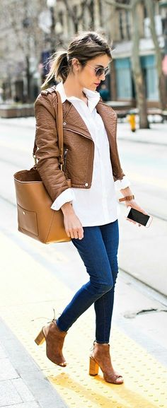 Brown Leather Jacket with Skinny Jeans and Ankle Heels