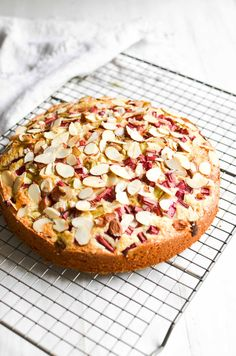 Norwegian Rhubarb and Almond Cake ~ a delicate breakfast or snack cake that features the unusual combination of tart rhubarb with almond. Rhubarb Desserts, Rhubarb Cake, Rhubarb Recipes, Norwegian Food, Norwegian Recipes, Norwegian Cake Recipe, Cake Recipes, Dessert Recipes, Fruit Dessert
