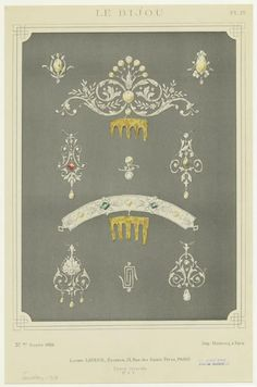 Top, a 1900 diamond and pearl comb, with nine pearls and diamond foliate scrolls