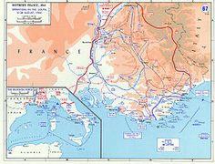 Map of Southern France during Operation Dragoon, Aug 1944 (US Military Academy map) Provence, Operation Dragoon, D Day Landings, Military Units, Military History, Military Academy, Photo Maps, Total War, Historical Maps