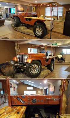 Jeep Bar to add unforgettable charm to your interior decor. Garage Furniture, Car Part Furniture, Automotive Furniture, Automotive Decor, Furniture Design, Modern Furniture, Automotive Engineering, Bench Furniture, Automotive Tools