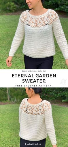 Eternal Garden Sweater Free Crochet Pattern - - Build it any size you want easily. Works quickly, so easy. Many cocoons are available on this site but to be honest, this project has special flow. T-shirt Au Crochet, Pull Crochet, Crochet Gratis, Crochet Shirt, Crochet Woman, Crochet Cardigan, Crochet Sweaters, Crochet Jumpers, Crochet Vests