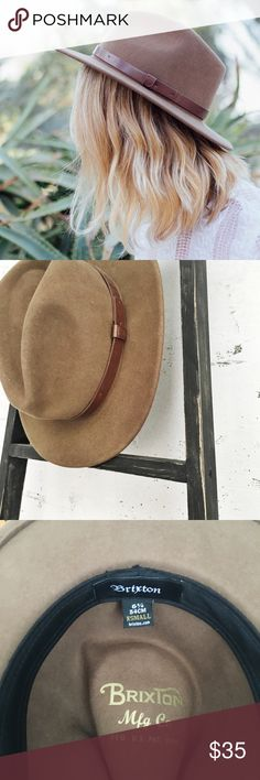 Brixton Messer Fedora in Camel XS Brixton wool fedora in camel with brown leather band. Great condition, just slightly too small for my head  Brixton Accessories Hats