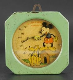 Vtg Walt Disney W.D. Ent. Mickey Mouse w/ Pluto Tin Case Desk Wall Thermometer