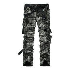 Men's Loose Style Multiple Pockets Camouflage Military Pants