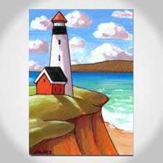 Cathy Horvath Folk Art Painting Prints Coloring Digital by SoloWorkStudio Lighthouse Painting, Landscape Artwork, Naive Art, Art Lessons, Painting & Drawing, Folk Art, Watercolor Paintings, Art Projects, Original Art