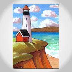 "ACEO ORIGINAL Art Card Collectable Handmade Miniature Folk Art Lighthouse Seaside Seascape Summer Ocean Landscape Artwork Horvath 2.5""x3.5"""