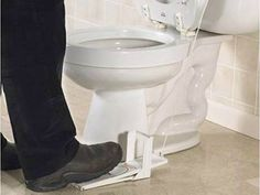 """Toilet Seat Lifting Pedal: """"Never touch the seat.  Wouldn't that be neat?    Now you can.  You'll be a fan!    Put your foot to the pedal.  It deserves a gold medal."""""""