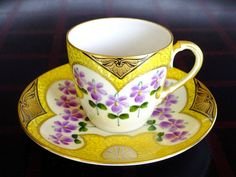 Lovely cup and saucer set by Boseck & Co. Cup And Saucer Set, Tea Cup Saucer, Tea Cups, Vintage Cups, Vintage Tea, Mad Hatter Party, Yellow Cups, Rose Tea, Tea Service