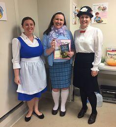 Highlights Press staffers Brittany Ryan (Belle from Beauty and the Beast), Michelle Budzilowicz (Fancy Nancy/Nancy Drew) and Allison Kane (Amelia Bedelia).