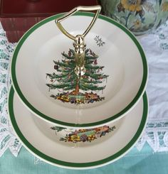 Excited to share the latest addition to my #etsy shop: Christmas Vintage, 2 Tiered Serving Tray, in Christmas Tree (Green Trim) by Spode, Two Tier Serving Tray , Green Trim, ChristmasTree, Toys http://etsy.me/2iyc7b0